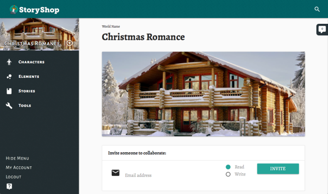StoryShop world creation for Christmas Romance